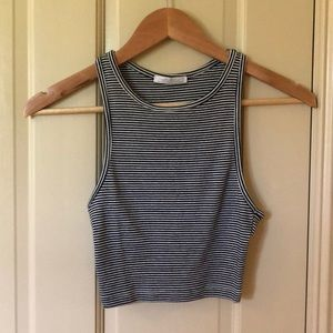 Zara white/black striped crop top